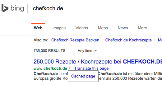 bing cached page